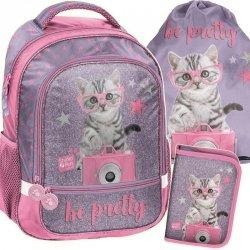 Plecak dla Dziewczynki Szkolny Komplet w Kotki Koty [PTG-260]