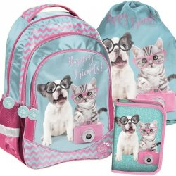 d055469d89609 Plecak dla Dziewczyny Szkolny Zestaw Pies Kot [PTK-181]