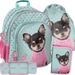 Nowoczesny Plecak Szkolny Piesek w Sweterku dla Dziewczynki [PQD-090]