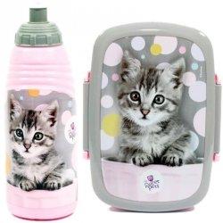 Śniadaniówka Bidon Kot Kotek dla Dziewczyny Zestaw 2w1