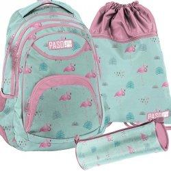 Plecak Flamingi Młodzieżowy Zestaw dla Dziewczynki [PPLF19-2708]