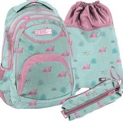 Plecak Młodzieżowy Zestaw Flamingi dla Uczennicy  [PPLF19-2708]