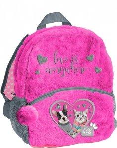 Plecak Przedszkolny Plecaczek Pluszowy z Kotkiem Pies dla Dziewczynki [PEU-305]