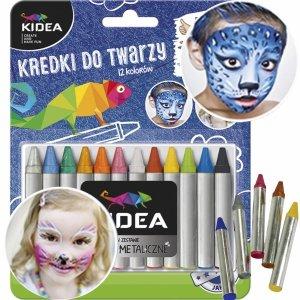Kredki do Malowania Twarzy 12 Kolorów dla Dziecka Kidea [KDT12KA]