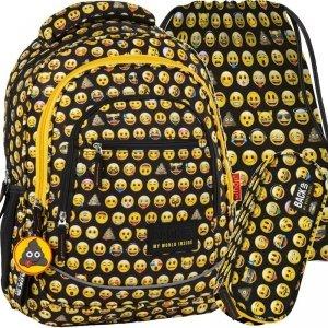 Plecak Emoji Młodzieżowy BackUP do Szkoły Zestaw [PLB2XEM86]