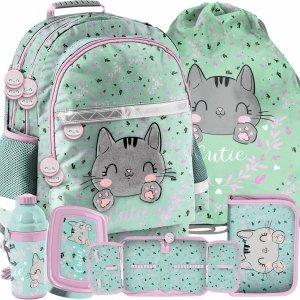 Dziecięcy Plecak dla Dziewczyny Kotek Kot Zestaw 5w1 [PP21CA-116]