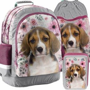 Plecak Szkolny Pies w Kwiatach dla Uczennicy Paso [18-116PS]