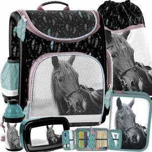 Tornister Szkolny dla Dziewczynek Paso Ciemny Konie [PP21KE-524]