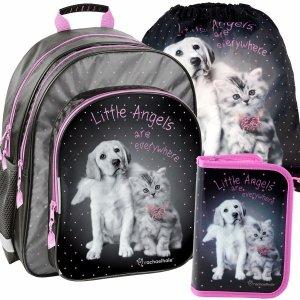 Plecak Szkolny Pies Kot Zestaw dla Dziewczyny [RHG-090]