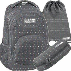 Plecak Szary Młodzieżowy w Kropeczki Komplet [PPMQ19-2708]