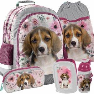 Plecak Szkolny z Pieskiem dla Dziewczynki Szary [18-116PS]