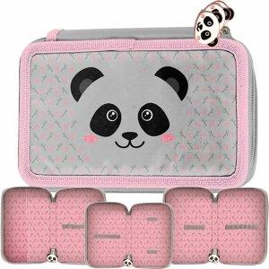 Piórnik Szkolny Miś Panda 3-Komorowy dla Dziewczynki [PP20PA-023BW]