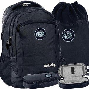 Czarny Modny Plecak dla Młodzieży Szkolny BeUniq Modny [PPAL20-2808]