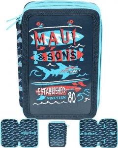 Piórnik Maui&Sons Szkolny Dwukomorowy dla Chłopaka [MAUL-022BW]