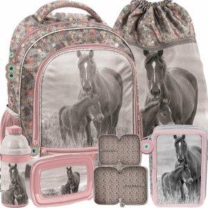 Plecaki Dziewczęce Szkolne Koń Konie Komplet Paso [PP20KO-260]