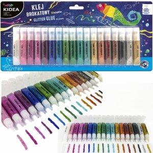 Klej Brokatowy 18 kolorów 6ml Kidea dla Dzieci [KB18KA]