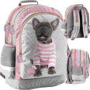 Plecak Szkolny z Pieskiem Buldog dla Dziewczynki  [PTP-116]