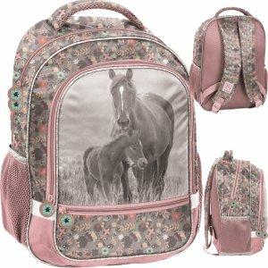 Konie Plecak Szkolny dla Dziewczynki Szary Różowy [PP20KO-260]