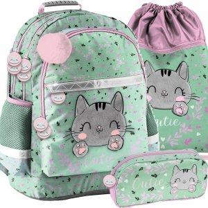 Plecak Szkolny Pluszowy Kotek  dla Dziewczyny Zielony [PP21CA-116]