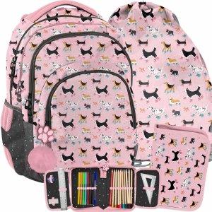 Modny Plecak Szkolny z Pieskami Dziewczęcy Różowy [PP21DG-2706]