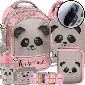 Nowy Plecak Szkolny Dziewczęcy z Misiem Panda Pluszowe Uszy [PP20PA-260]