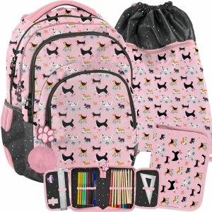 Szkolny Plecak z Pieskami dla Dziewczyny Różowy [PP21DG-2706]