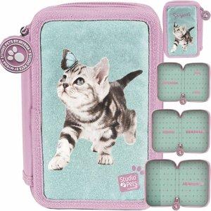 Piórnik 3 Komorowy Szkolny Motyl Kotek dla Dziewczynki [PTN-023BW]