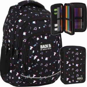 Czarny Plecak Nuty Tik Tok BackUP Szkolny Młodzieżowy [PLB4A16]