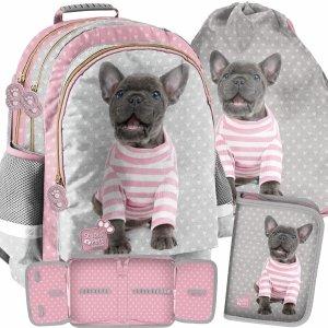 Szkolny Plecak Pies Buldog Dziewczęcy Zestaw 3w1 [PTP-116]