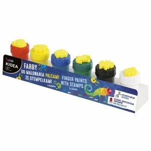 Farby do Malowania Palcami ze Stempelkami 6 Kolorów Kidea dla Dzieci [FDPS6KA]
