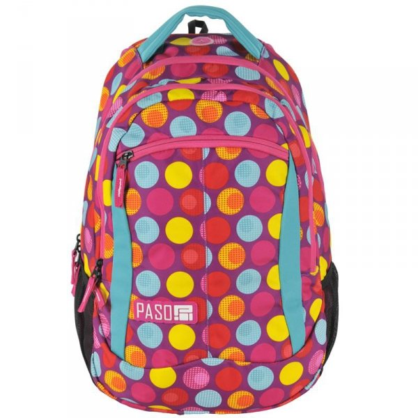 Plecak Młodzieżowy Szkolny Kolorowe Kółka Różowy 17-2808UH