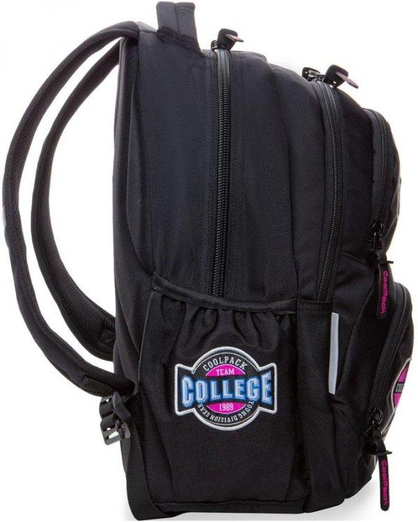 Plecak CP Czarny CoolPack z Naszywkami Dziewczęcy [B19056]