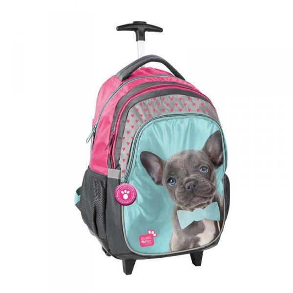 Plecak na Kółkach z Pieskiem w Muszce Szkolny dla Dziewczyny