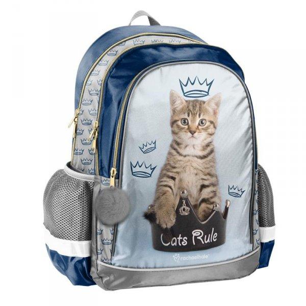 Plecak Szkolny z Kotkiem dla Dziewczyny na Plecy do Szkoły RHU-081