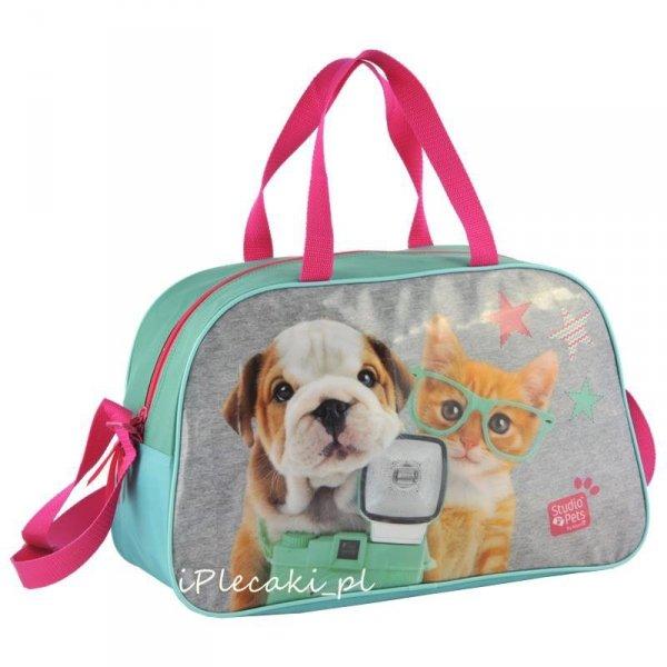 torba sportowa na ramię dla dziewczynki podróżna na basen z pieskiem kotkiem PEB-074