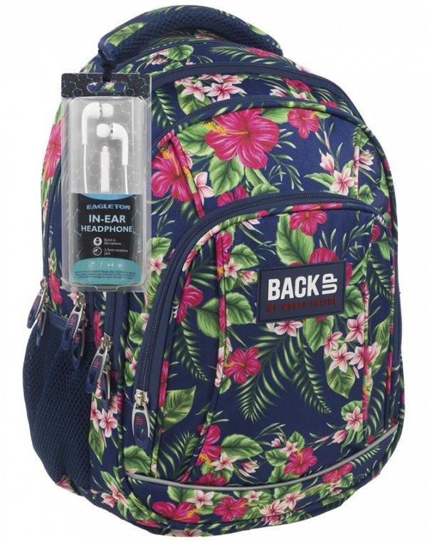 Plecak BackUP Młodzieżowy Szkolny w Kwiaty [PLB1A12]