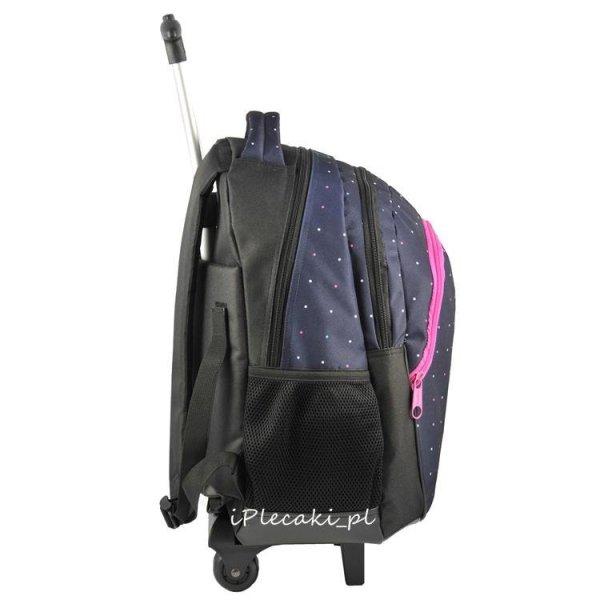 plecak szkolny na kółkach kołach w kropki paso