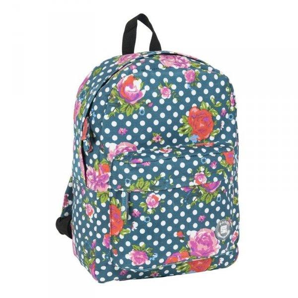 Plecak Vintage Młodzieżowy Zielony w Kwiaty 17-780D