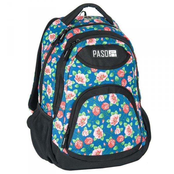 Plecak Młodzieżowy Szkolny dla Dziewczyny Niebieski w Kwiatki 17-2708UV
