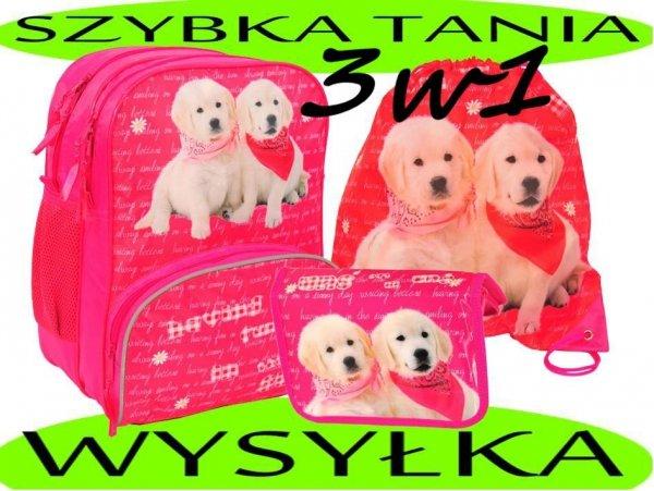 Zestaw Szkolny 3w1: plecak szkolny piórnik z wyposażeniem+worek na obuwie z  pieskami pies