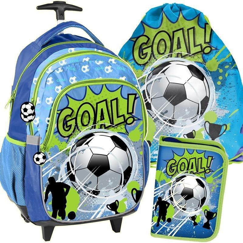 f4fd874360d45 Plecak na Kółkach dla Chłopaka Szkolny Piłka Nożna Zestaw [PP19PI-997]
