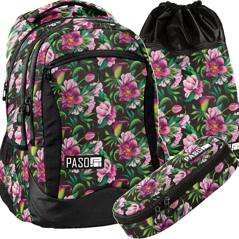 bd1a0c2d92b2d Plecak Młodzieżowy Szkolny Zestaw Kwiaty Kolorowe [PPLK19-2808 ...