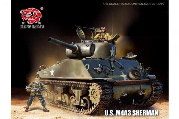 Czołg U.S. M4A3 SHERMAN 1:16 + Dym Heng Long
