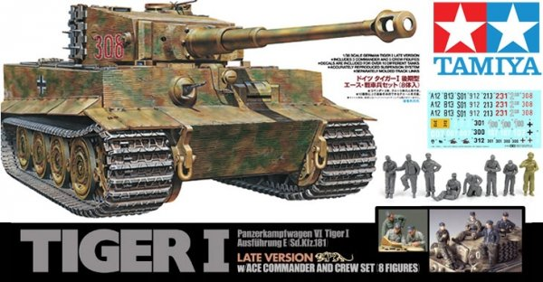 TAMIYA 25401 1/35 German Tiger I Late Version w/Ac