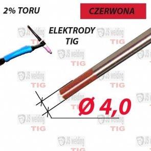 WT20 ELEKTRODA TIG CZERWONA Ø 4,0 mm