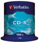 1x100 Verbatim Data Life CD-R 80 700MB, 52x Speed, Cake Box