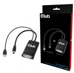 Club 3D Adapter Mini-DisplayPort na DVI-D (18+1) Aktiv, 270 MHz, Dual-Link