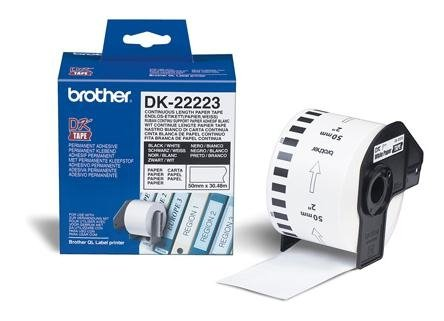 Brother Continuous Length Paper Tape, black on biały    DK-22223