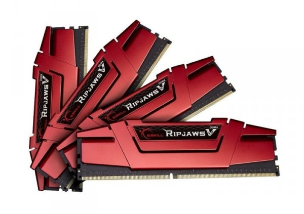 G.Skill 16GB DDR4-3000 Quad-Kit, czerwony F4-3000C15Q-16GVR, Ripjaws V