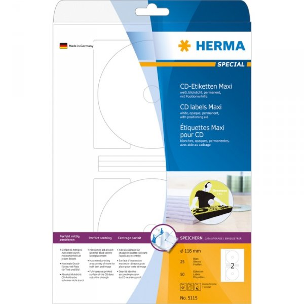 Herma CD-Lables 116mm Paper biały 25 sheets         5115